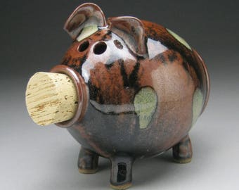 Spotted Black Brown Piggy Bank