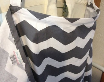 SALE March Madness SALE Nursing Cover with Pockets Grey and white chevron Great price