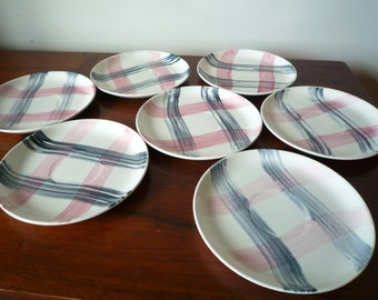 Vintage Stetson Scots Clan Plaid Pink Charcoal Saucers Set of 7