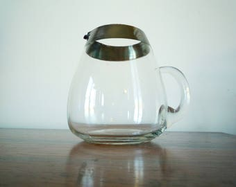Vintage Mid Century Modern Dorothy Thorpe Inspired Silver Band Rim Pitcher 32 ounce