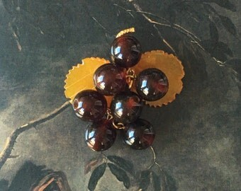 40s Russian Baltic Amber Grape Cluster Brooch Hand Carved Gold Filled Stem Kitschy Vintage Love Token for Oenophile or Wine Collector