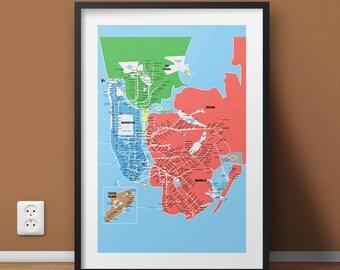 New York City Subway Metro Map, Manhattan Art Print, Brooklyn, Bronx, Queens Poster, NYC Home Staging Canvas, Housewarming Wall Decor