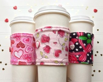 Coffee Cup Cozy, Coffee Cup Sleeve, Cup Cozy, Cup Sleeve, Reusable Coffee Sleeve - Valentine Hearts Dots Roses [64-66]