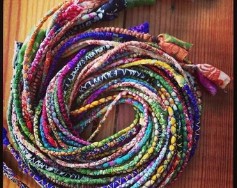 Silk cords x 20  for jewellery making - mixed colours