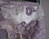 RESERVED Lavender dreams wrap skirt in lace, fractal wings elven festival clothing