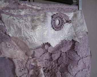 Lavender dreams wrap skirt in lace, fractal wings elven festival clothing