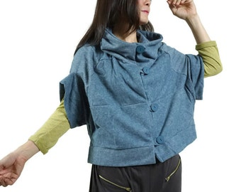 Patched Dusty Teal Blue Brushed Cotton Mix Polyester Stand Collar Drop Shoulder Cloak Batwing Vest Jacket Blouse