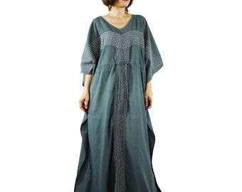 Boho Elegant Charcoal Grey Light Cotton Oversize V Neck Empire Waist Kaftan Women Top Dress With Handmade White Line Hand Stitches