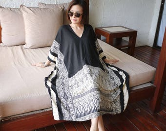 One Of A Kind - Graphic Thai Lined Pattern Printed Black Light Nano Rayon Kaftan Dress Poncho Dress Women Tops Maxi Dress Can Fit Up To 6X