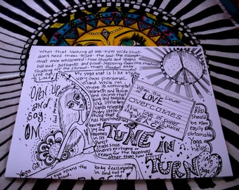 hippie art, Yoga, Zine, Hippie Zine, poster, coloring poster, peace love art