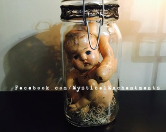 I am doll parts ! MiSfItS Creepy Vintage Doll parts in a vintage glass Apothecary Jar