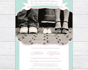 Turquoise Stripes Baby Shower Invitation with Photo, Personalized Turquoise & Pink Baby Shower Invitation, Gender Reveal Baby Shower Invite