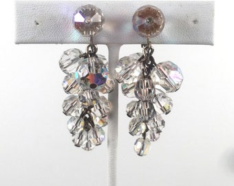 Vintage 1960s Clear Stone Chandelier Earrings Clip Ons