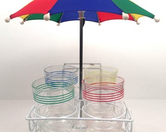 Vintage 1980s Cocktail Set with Cart and Umbrella