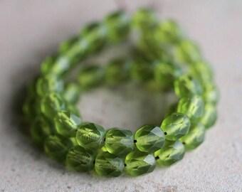 6mm Matte Olive Green Czech glass beads, 6mm round glass beads, fire polished beads, faceted glass beads (100pcs) NEW