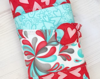 Red Aqua Crochet Hook Case Organizer Zipper Pocket Optional Birds Hearts Small Flowers Swirls Sewn in Zipper Notions Pouch