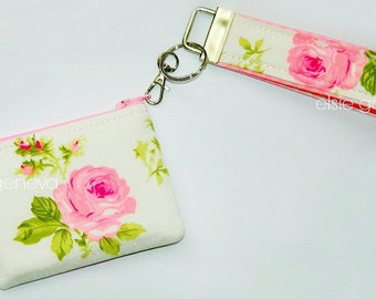 Pink Roses and Gingham ID Pouch & Key Fob Chain Wristlet - Ear Bud Case - Blue Tooth Case - iPhone 7 EarPod Case - Ready to Ship