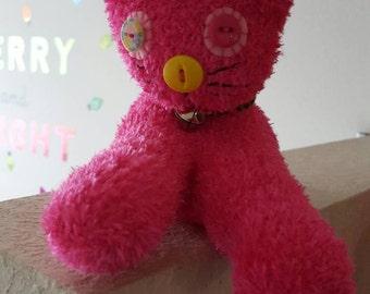 Fuzzy Pink Sock Kitty Kitten