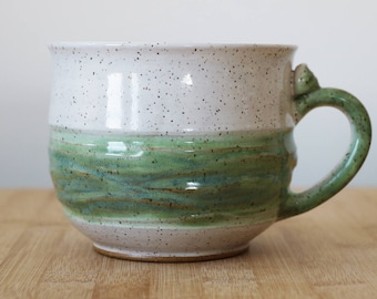 Large White and jade mug- Venti+