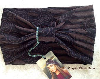 Brown Burnout Turban WRAPsody HeadWrap Headband Boho Dread Wrap Yoga Headband Headcover Gifts for Her