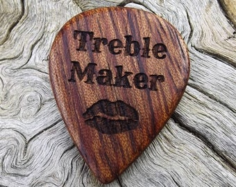 Wood Guitar Pick - Premium Quality - Handmade With African Bubinga - Laser Engraved On Each Side - Artisan Guitar Pick - Treble Maker