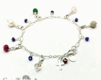 Sterling Silver Purity Charm Bracelet Custom Made to Order  with Genuine Gemstones and Swarovski Crystals