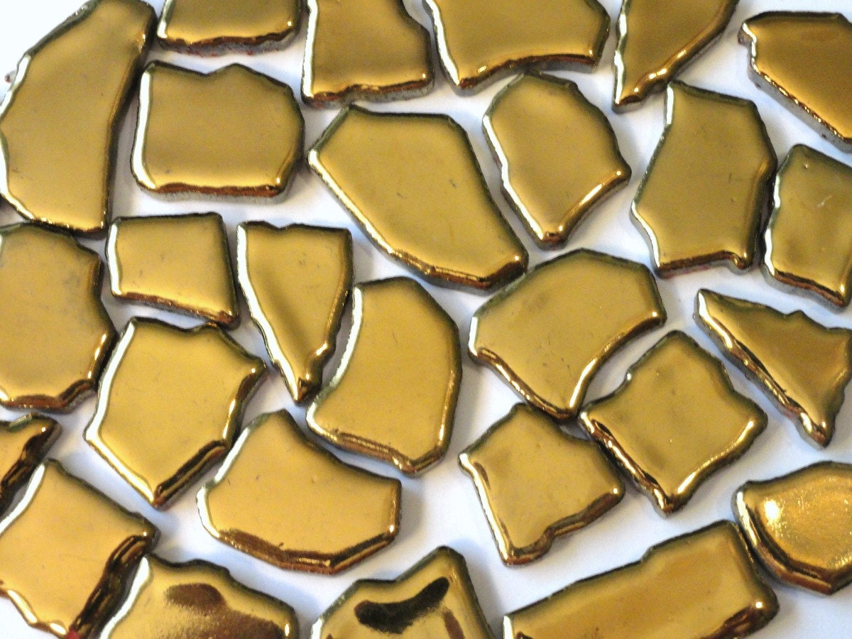 Gold ceramic jigsaw puzzles mosaic tiles mosaic pieces for Mosaic pieces for crafts