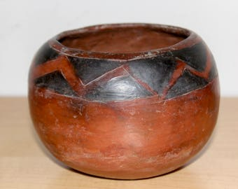 Maricopa Clay Pottery Bowl Native American Pima Indian - Brunished Red Black Zig Zag Pattern