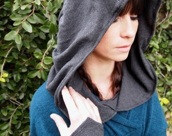 NEW The Bamboo Thermal Knit Ruched Hood in Charcoal Gray by Opal Moon Designs (One Size Fits all)