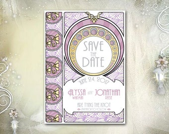 Art Nouveau Save the Date / 5x7 / Wm. Morris, Mucha, Gatsby / Art Deco / Purple Lavender Gray / Wedding, Anniversary, Birthday / DIY