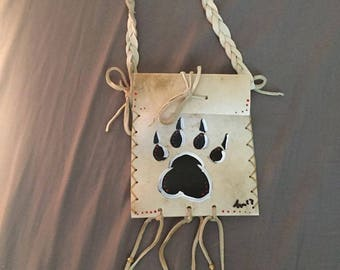 Native American Madewolf paw print Parfleche bag Rawhide  medicine bag deer pow wow regalia