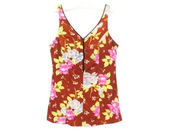 60s Tank Top * Vintage 1960s Maillot Top * Floral Bathing Suit Top * Swimsuit Top * XL  Large