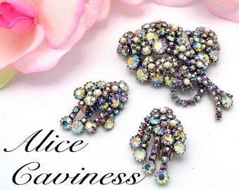Vintage Brooch Earrings Alice Caviness Floral Rhinestone Set Ab & Faux Pearl