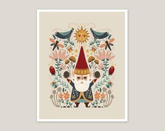 Gnome Life - Garden Art Print 8x10