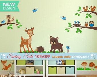 Forest Animals Wall decal Tops Woodland Critters Children Wall Art Decal Tree Nursery Baby Playroom Kids Vinyl Wall Decal Wall Sticker