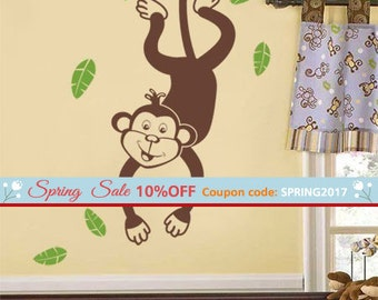 Monkey and Branch Wall Decal, Monkey with Branch Wall Sticker, Jungle Wall Decal Sticker, Monkey and Tree Wall Decal for Kids Room Nursery