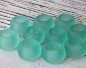 Large Hole Seaglass Beads - Sea Glass Pony Beads - Jewelry Making Supplies - Cultured Sea Glass Ring  (6 pieces) Seafoam Green