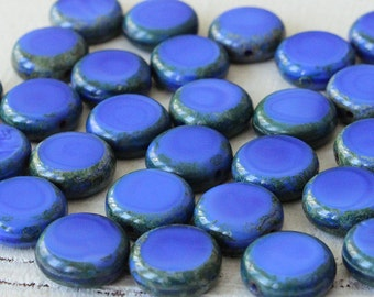 11mm Coin Beads - Jewelry Making Supply - Opaque Blue With Picasso Edges - Czech Glass Beads - Choose Amount