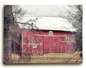 Rustic Barn Art, Wood Plank Art, Red Barn on Wood, Ready to Hang Art, Rustic Red Barn Photograph, Wood Plank Sign, Country Decor