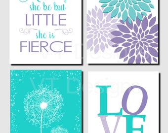 Teal Purple Lavender, Kids Wall Art, Brooklyn Nursery, Girls Room, And though she be but little, Dandelions, Set of 4, Prints or Canvas