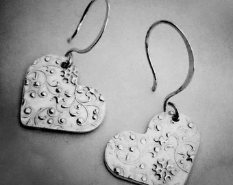 Textured Heart Earrings - Perfect Valentine or Anniversary Gift - priority shipping and gift wrapped - Ready to ship