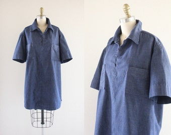 S A L E oversized denim tunic dress / vintage