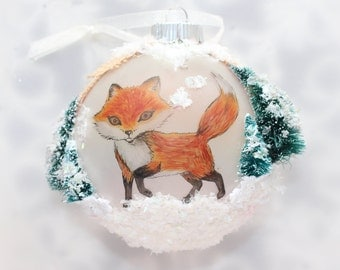 Pen and Ink Art Fox Northern Lights Frosted Glass Ornament with Snowy Trees, Burlap, and Glitter
