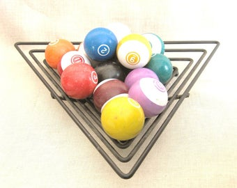 Vintage Pool Balls, Table Pool, Game Room, Triangular Metal Basket, Mid-Century, Table Sports, Billiards, PoolHall ,Set of Balls