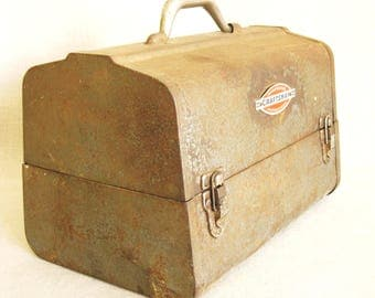 Vintage Craftsman Metal Tool Box, Doctors Bag, Tool Chest, Storage, Organization, Industrial Chic, Weathered, Unusual, Steel Box, Work Case
