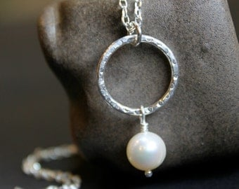 Pearl Textured Circle Pendant Necklace, Sterling Silver Chain , Bridesmaid Gift, Wedding Gift