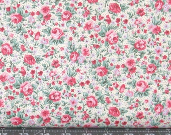 Pink, Red, Periwinkle Blue & Green Small Floral on Ivory Dotted Background 100% Cotton Fabric, Marshall Dry Goods, Calico MDGCountry-06Cream