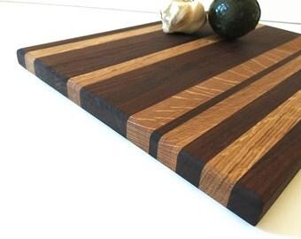 "Stunning Black Walnut and Oak Handmade Wood Cutting Board -  14"" x 11"" x 3/4"""