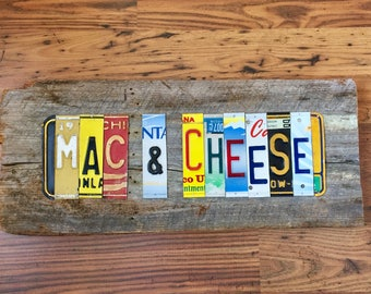 MAC & CHEESE license plate sign tomboyART art recycled and upcycled pig BBQ tomboyART tomboy art SouL FooD