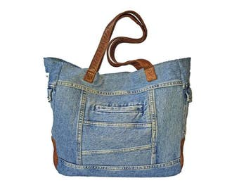 Uptown Tote - Upcycled Jean Jacket Denim and Brown Leathers with US Army Tent Lining